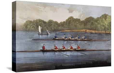 Currier and Ives: Rowing Contest-Currier & Ives-Stretched Canvas Print