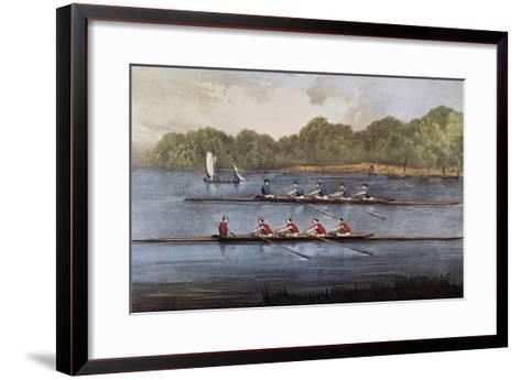 Currier and Ives: Rowing Contest-Currier & Ives-Framed Art Print