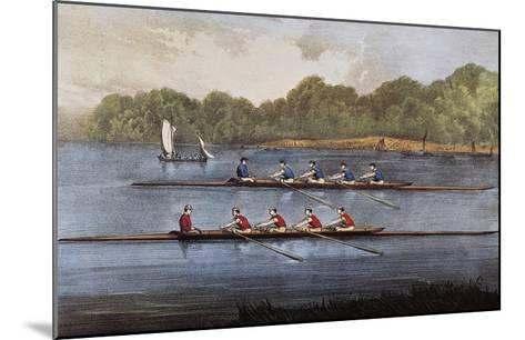 Currier and Ives: Rowing Contest-Currier & Ives-Mounted Giclee Print