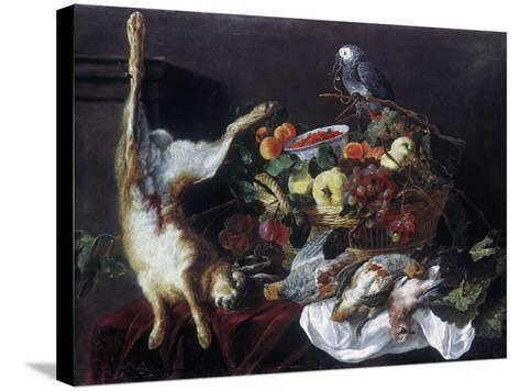 Fyt: Still Life with Parrot-Jan Fyt-Stretched Canvas Print