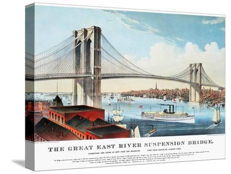 View of Brooklyn Bridge-Currier & Ives-Stretched Canvas Print