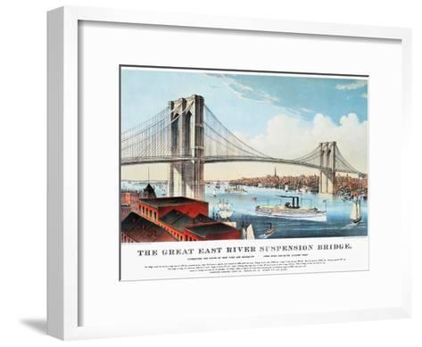 View of Brooklyn Bridge-Currier & Ives-Framed Art Print