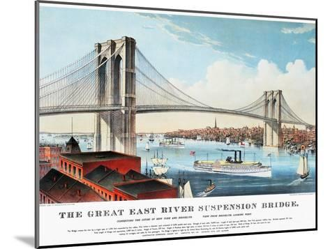 View of Brooklyn Bridge-Currier & Ives-Mounted Giclee Print