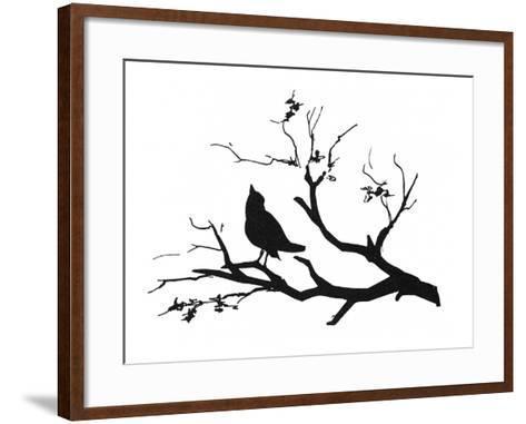 Silhouette: Bird on Branch--Framed Art Print