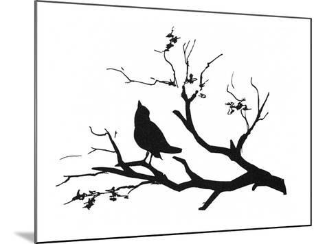 Silhouette: Bird on Branch--Mounted Giclee Print