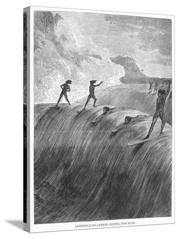 Hawaii: Surfing, 1878--Stretched Canvas Print