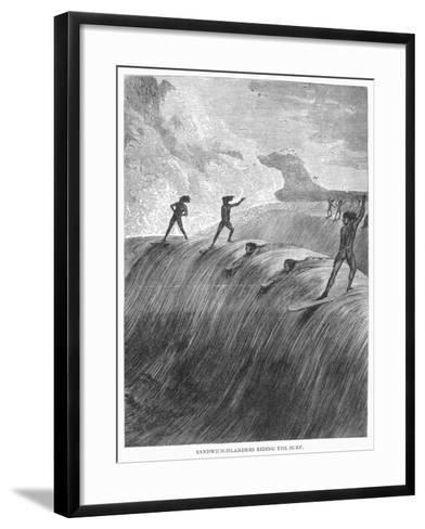 Hawaii: Surfing, 1878--Framed Art Print