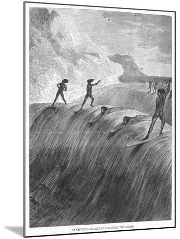Hawaii: Surfing, 1878--Mounted Giclee Print