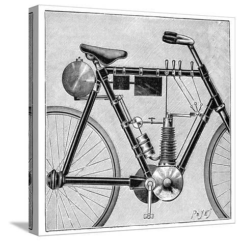 Motorcycle, 1895--Stretched Canvas Print