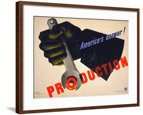 World War II Poster, 1941-Jean Carlu-Framed Art Print