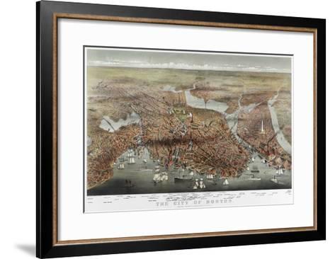 Map: Boston, c1873-Currier & Ives-Framed Art Print
