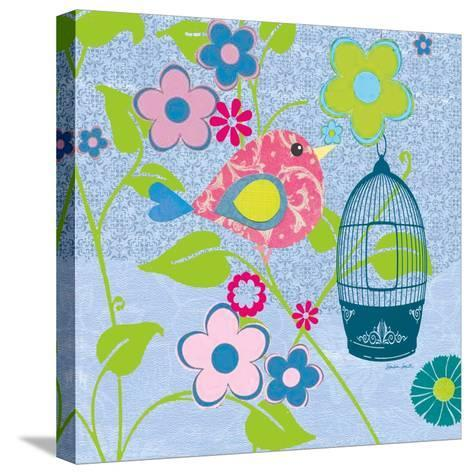 Pink Patterned Bird-Sandra Smith-Stretched Canvas Print