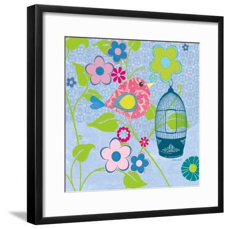 Pink Patterned Bird-Sandra Smith-Framed Art Print