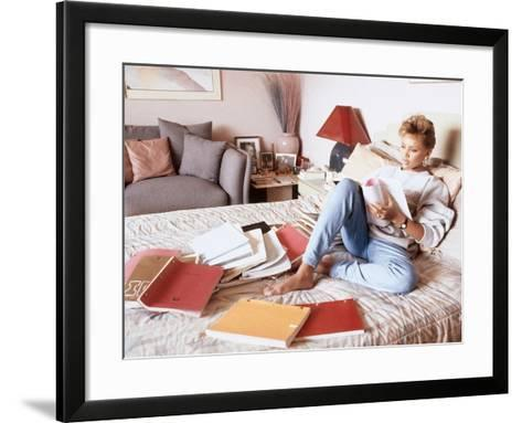 Vanessa Williams, Relaxes While Reading over Movie Scripts, 1987-Vandell Cobb-Framed Art Print