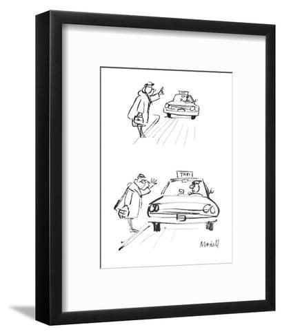 Woman hails cab. When it stops, she thumbs her nose at the driver. - New Yorker Cartoon-Frank Modell-Framed Art Print