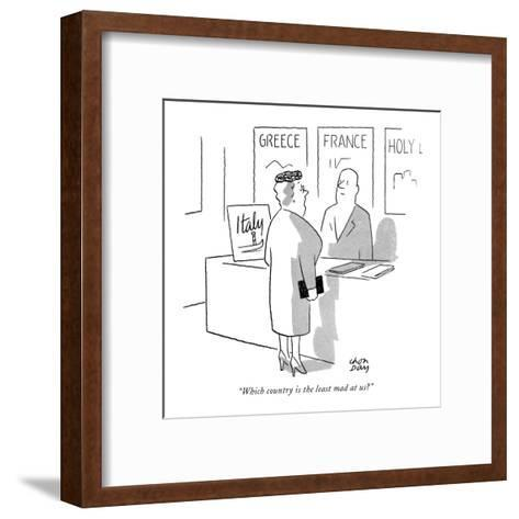 """""""Which country is the least mad at us?"""" - New Yorker Cartoon-Chon Day-Framed Art Print"""