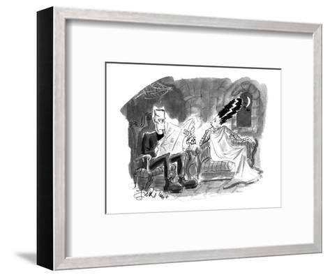 Bride of Frankenstein talking to husband reading newspaper. - Cartoon-Edward Frascino-Framed Art Print