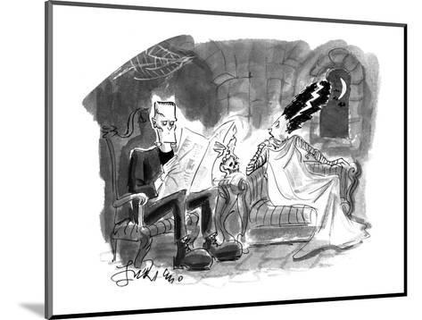 Bride of Frankenstein talking to husband reading newspaper. - Cartoon-Edward Frascino-Mounted Premium Giclee Print