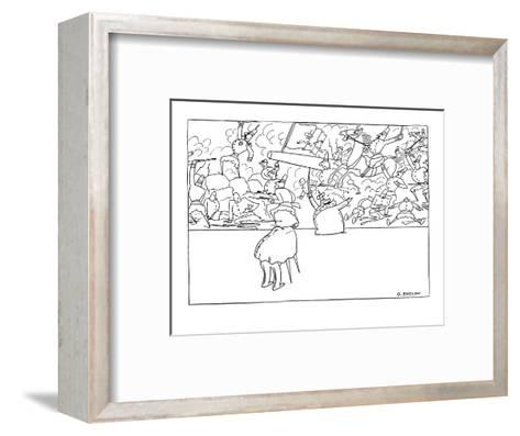 Small king is having his portrait taken, he is standing in front of a batt? - New Yorker Cartoon-Otto Soglow-Framed Art Print