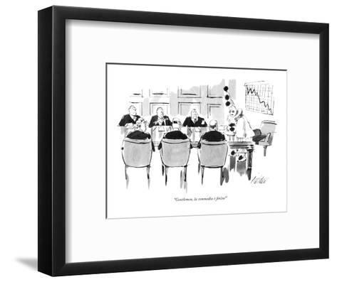 """""""Gentlemen, la commedia ? finita!"""" - New Yorker Cartoon-Mischa Richter-Framed Art Print"""