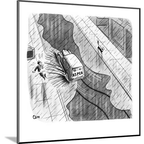 ASPCA truck rides through puddle of water, splashing man on sidewalk; dog ? - New Yorker Cartoon-Charles E. Martin-Mounted Premium Giclee Print