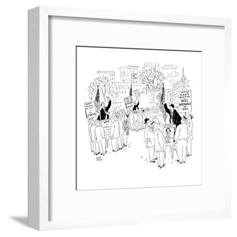Soapbox speakers at Union Square. One man is campaigning for Miss Rheingol? - New Yorker Cartoon-Robert J. Day-Framed Art Print