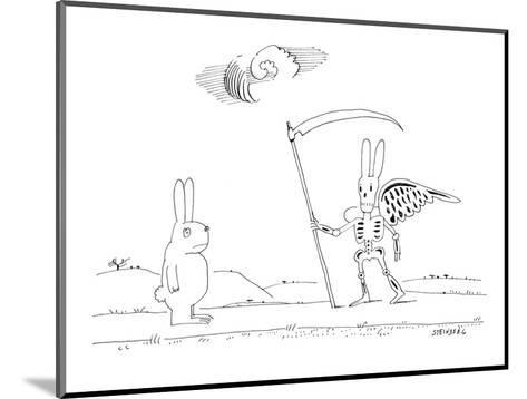 A rabbit walking upright down a road sees death as a rabbit skeleton with ? - New Yorker Cartoon-Saul Steinberg-Mounted Premium Giclee Print
