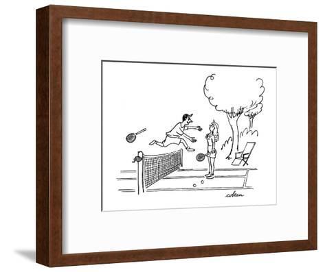Man jumps over tennis net after game, to embrace attacative woman. - New Yorker Cartoon-Sam Cobean-Framed Art Print