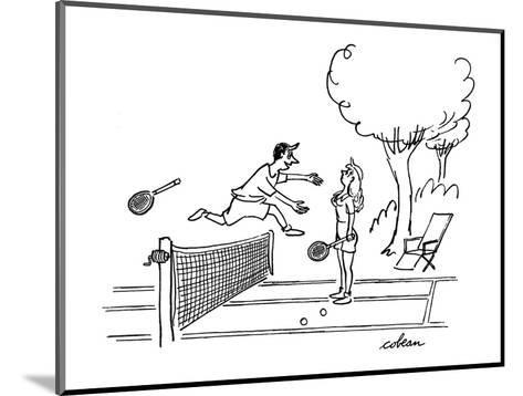 Man jumps over tennis net after game, to embrace attacative woman. - New Yorker Cartoon-Sam Cobean-Mounted Premium Giclee Print