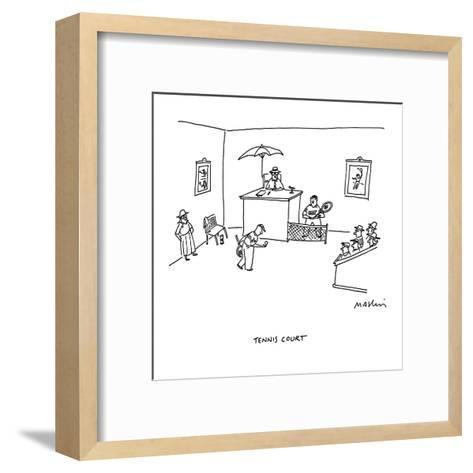 Tennis Court - Cartoon-Michael Maslin-Framed Art Print