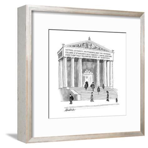 Inscription on Post Office reads, Neither lethargy, indifference, nor the ? - New Yorker Cartoon-J.B. Handelsman-Framed Art Print