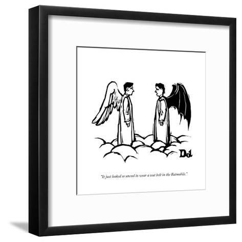 """""""It just looked so uncool to wear a seat belt in the Batmobile."""" - New Yorker Cartoon-Drew Dernavich-Framed Art Print"""