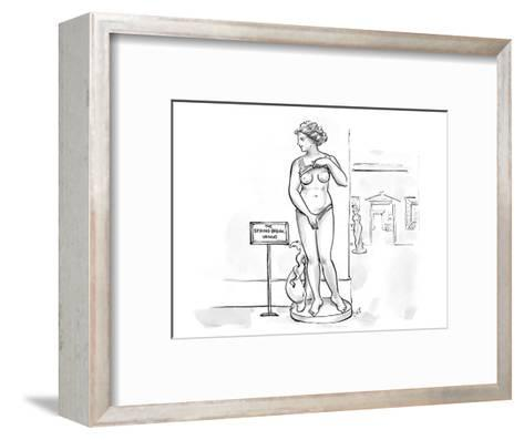 Sculpture at museum lifting shirt and pulling on bottoms with a sign that … - Cartoon-Carolita Johnson-Framed Art Print