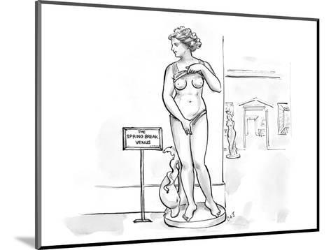 Sculpture at museum lifting shirt and pulling on bottoms with a sign that … - Cartoon-Carolita Johnson-Mounted Premium Giclee Print