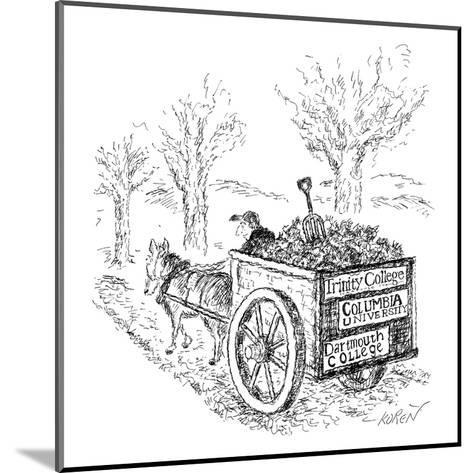 "A man drives a horse-drawn cart with bumper stickers reading: ""Columbia Un? - New Yorker Cartoon-Edward Koren-Mounted Premium Giclee Print"