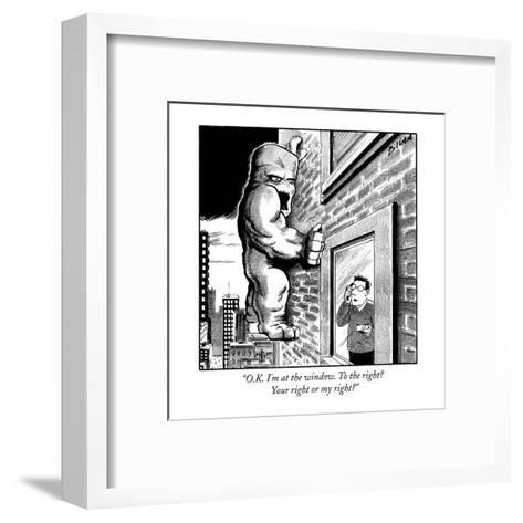 """""""O.K. I'm at the window. To the right? Your right or my right?"""" - New Yorker Cartoon-Harry Bliss-Framed Art Print"""