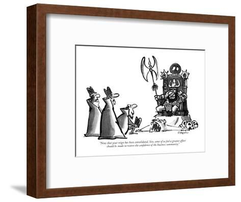 """""""Now that your reign has been consolidated, Sire, some of us feel a greate?"""" - New Yorker Cartoon-Lee Lorenz-Framed Art Print"""