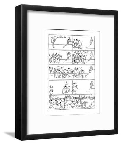The Little King. Gypsies visit the king and he packs up and goes with them. - New Yorker Cartoon-Otto Soglow-Framed Art Print