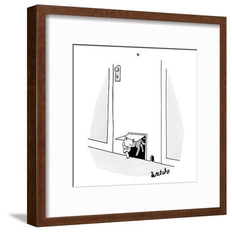 A cat crawls through a cat door and looks angrily at a mouse hole right ne? - New Yorker Cartoon-Liam Walsh-Framed Art Print