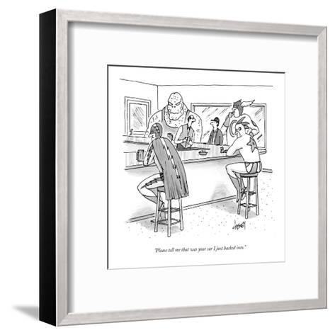 """""""Please tell me that was your car I just backed into."""" - New Yorker Cartoon-Tom Cheney-Framed Art Print"""