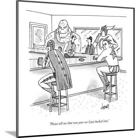 """""""Please tell me that was your car I just backed into."""" - New Yorker Cartoon-Tom Cheney-Mounted Premium Giclee Print"""
