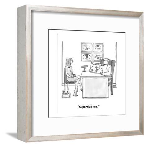 """Supersize me."" - Cartoon-Marisa Acocella Marchetto-Framed Art Print"