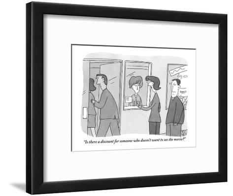 """""""Is there a discount for someone who doesn't want to see the movie?"""" - New Yorker Cartoon-Peter C. Vey-Framed Art Print"""