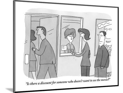 """""""Is there a discount for someone who doesn't want to see the movie?"""" - New Yorker Cartoon-Peter C. Vey-Mounted Premium Giclee Print"""