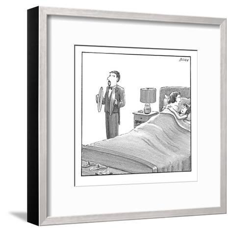 A man and a woman lie in bed. Another man stands next to them holding cymb? - New Yorker Cartoon-Harry Bliss-Framed Art Print