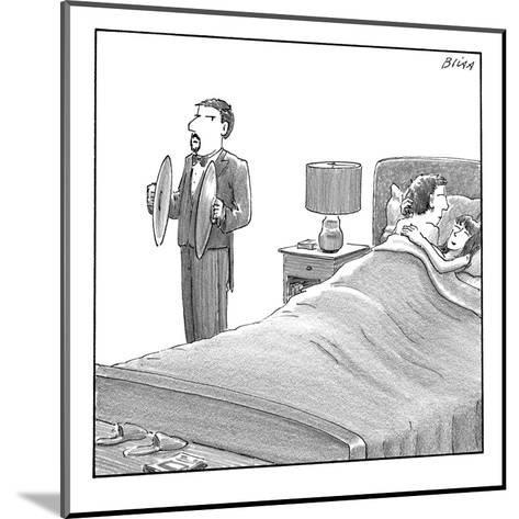 A man and a woman lie in bed. Another man stands next to them holding cymb? - New Yorker Cartoon-Harry Bliss-Mounted Premium Giclee Print
