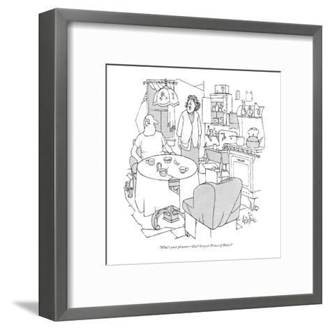 """What's your pleasure?Earl Grey or Prince of Wales?"" - New Yorker Cartoon-George Price-Framed Art Print"