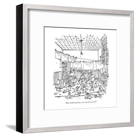 """""""How would I rate, hon, on a scale of one to ten?"""" - New Yorker Cartoon-George Booth-Framed Art Print"""