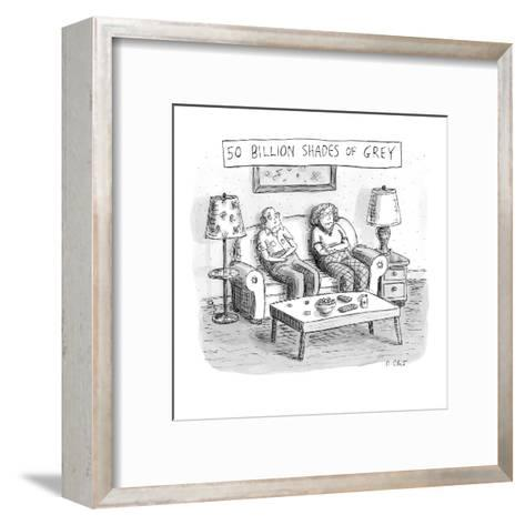 Two elderly individuals sitting on couch in living room. - New Yorker Cartoon-Roz Chast-Framed Art Print