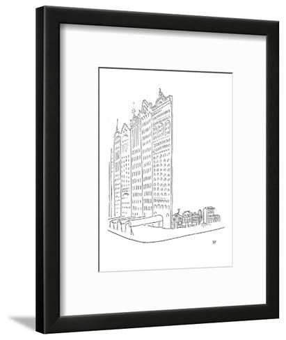 Large impressive facades stand in front of smaller homes. - New Yorker Cartoon-Saul Steinberg-Framed Art Print